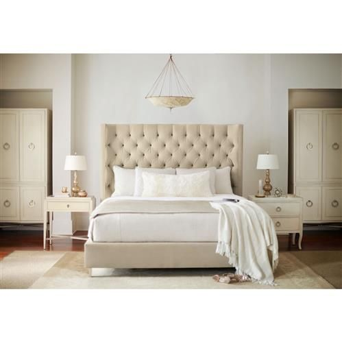 Oriana Modern Classic Ivory Upholstered Tufted Panel Bed Queen
