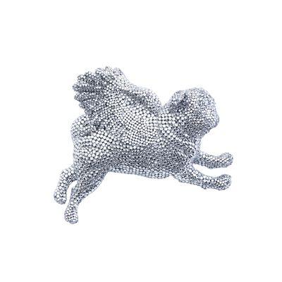 silver pug, flying