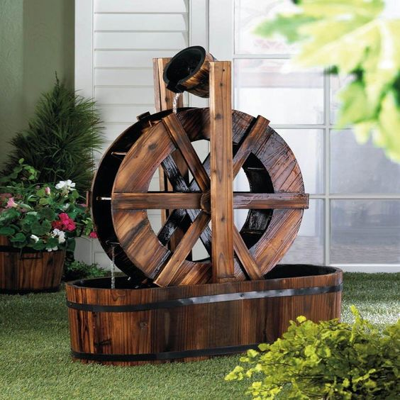 spinning wood outdoor water mill fountain pj home and garden decor 1