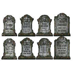 Halloween Tombstone Cutouts Assortment Pkg/4 by Beistle. $5.99. Prtd 2 sides w/different designs. Easy Installation - Remove and Reuse.. Ideal for Halloween Parties. For Indoor & Outdoor Use.. Bring Your House To Life!. Let the Halloween Celebrations begin with Decorations! Start your Halloween Party off with a bang! and make your guests feel like  they are in for a Real Haunting Event! Tombstone Cutouts are 16 inches tall (4/Pkg) Printed on front and back of cardstock mater...