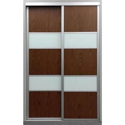 Contractors Wardrobe 72 in. x 96 in. Sequoia Walnut and White Painted Glass Aluminum Interior Sliding Door-SEQ-CWS7296SC2R - The Home Depot