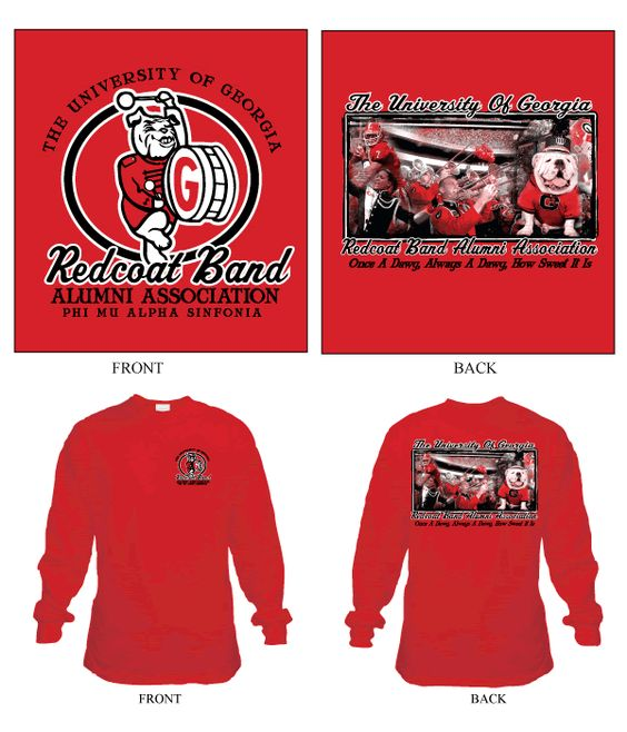 U of Georigia Redcoat Band Alumni Association shirt designs and
