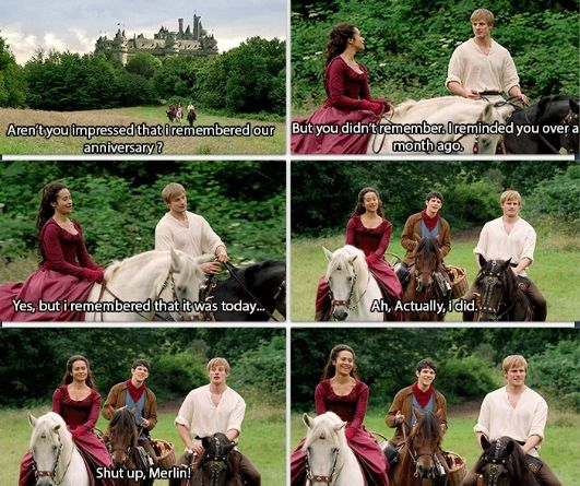 what makes this even better is that, for some reason, Arthur still brings Merlin along while taking his wife on a date