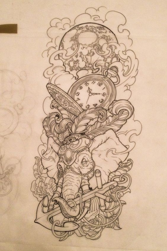elephant anchor time clock tattoo