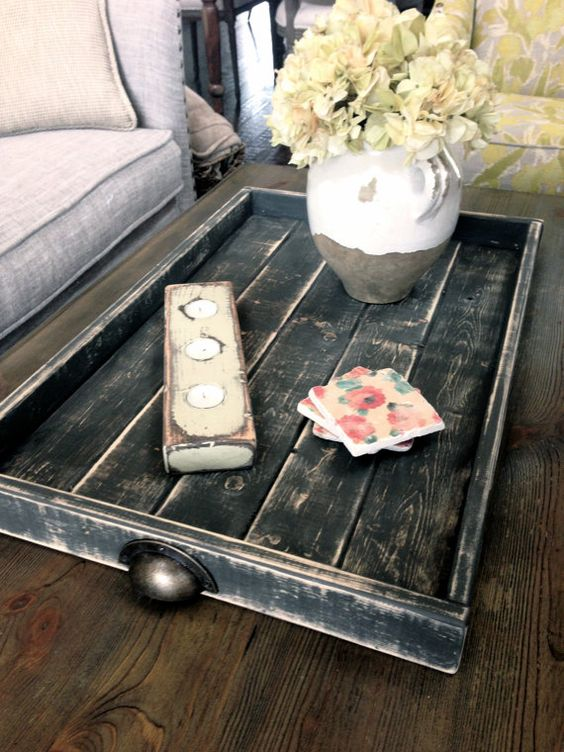 Wood Coffee Table Or Ottoman Tray Large Black By Shabbyfresh Shabby Fresh Pinterest