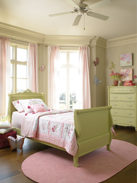 Pretty Pink And Green Butterfly Room For A Little Girl