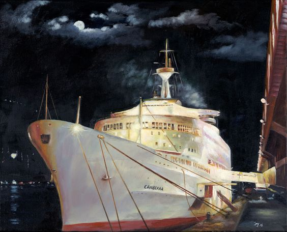 P&O SS Canberra in Hong Kong Fine Art Print of my Original Oil Painting
