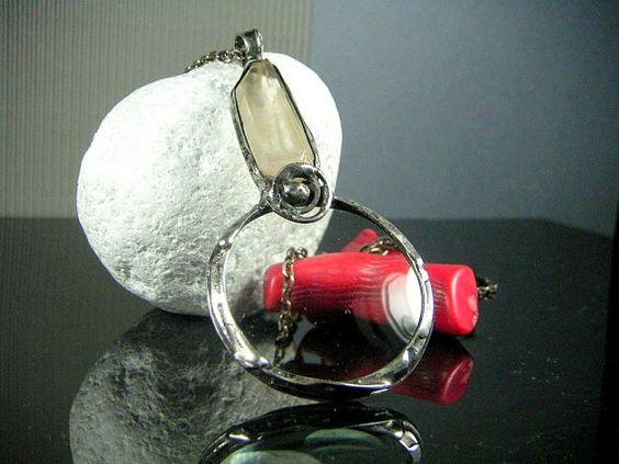 Large Crystal Quartz MONOCLE - Magnifying Glass - Magnifier Necklace - Glass Loupe Necklace - Magnifier and Quartz Crystal