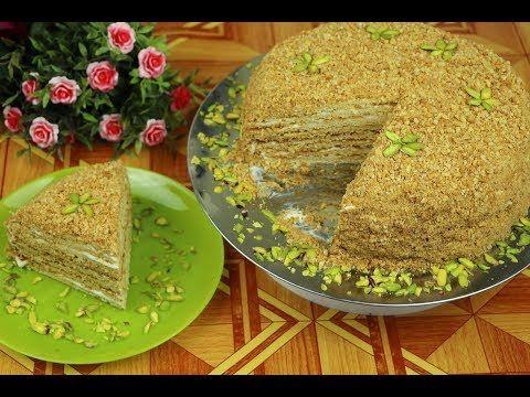 كيكة العسل الروسية باسهل طريقة واطيب مذاق مع رباح محمد الحلقة 649 Youtube Russian Honey Cake Desserts Cake