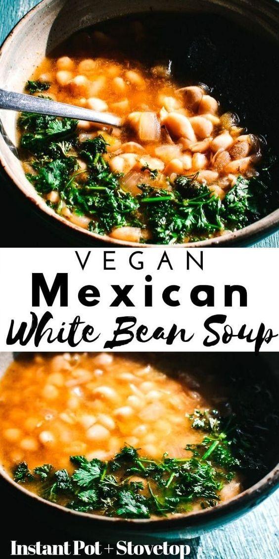 Vegan Instant Pot Mexican White Bean Soup (+ Stovetop Instructions)