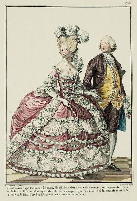 Galerie des Modes, 23e Cahier, 1ere Figure  Young Wife, as she is led to the altar; she is dressed in a gown of Pekin* trimmed with gauze ribbon and flowers.  Her gown is full dress over a medium hoop: the man conducting her is wearing a suit and a vest with a gold ground embroidered around with colored gold threads. (1779)