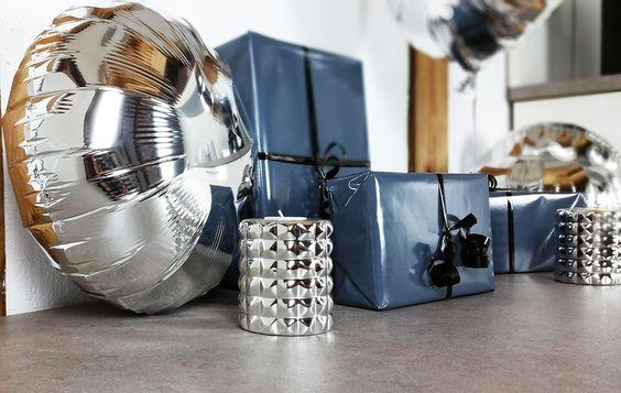 Folienballons silber zum Geburtstag, Heliumballons, Geburtstagsgeschenk verpacken