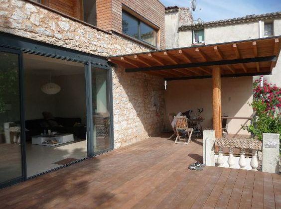 terrasse-bois-baie-vitree-pergola-extension   Maisons en pierre ...