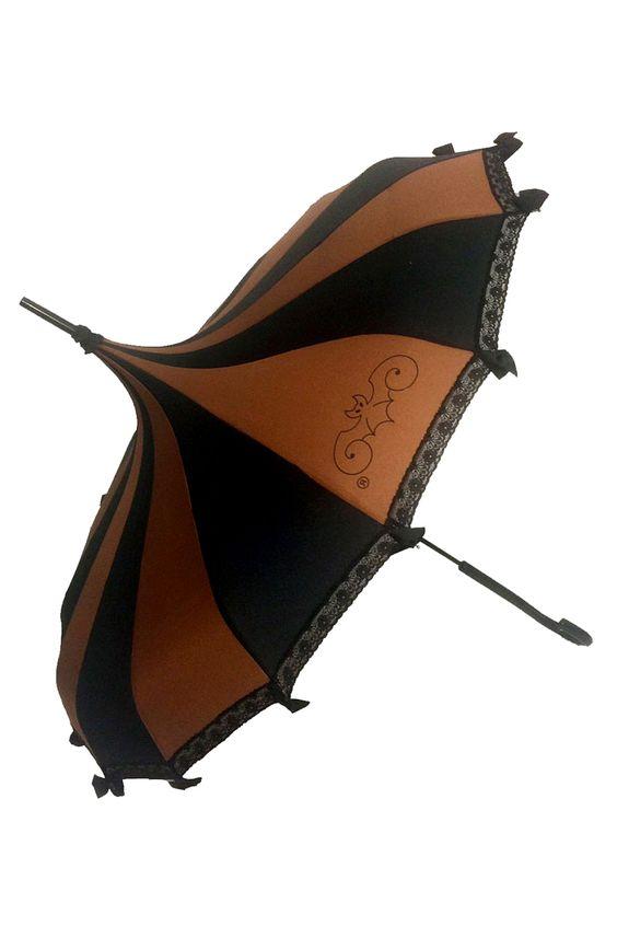 Hilarys Vanity Steampunk Umbrella, Striped Gothic Parasol / Rain Umbrella - Brown and Black