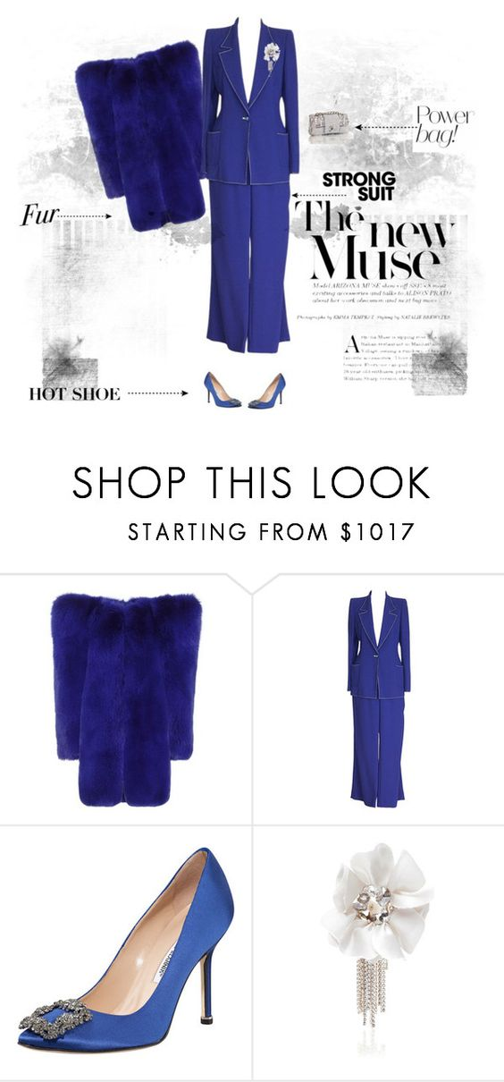 """Blue"" by andreearaiciu ❤ liked on Polyvore featuring Yves Saint Laurent, Emanuel Ungaro, Manolo Blahnik and Lanvin"