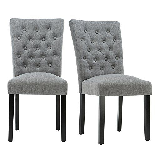 Andeworld Set Of 2 Button Tufted Upholstered Dining Chairs High Back Padded Kitchen Chairs With Wood Leg Dining Chairs Upholstered Dining Chairs Kitchen Chairs