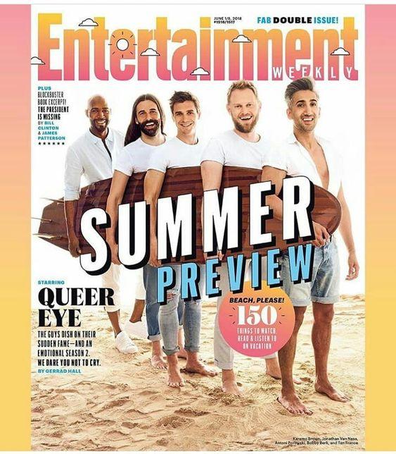 🤩 Magazine: Os fabulosos do @queereye  (@antoni @bobbyberk @karamobrown @tanfrance @jvn) na divulgação da nova temporada, são as estrelas da capa da @entertainmentweekly