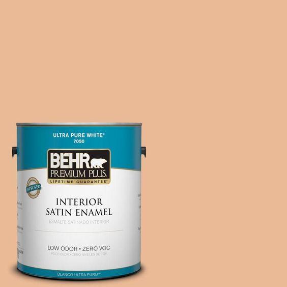 BEHR Premium Plus 1-gal. #280C-3 Fresh Praline Zero VOC Satin Enamel Interior Paint