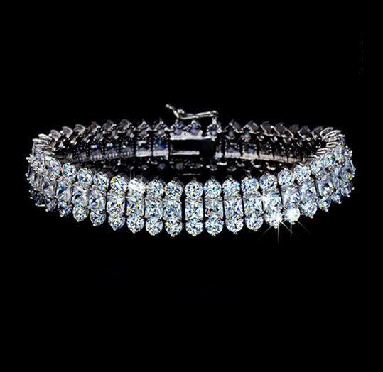 Baguette Cubic Zirconia Cuff Wedding Bracelet 3 by AmodeJewelry