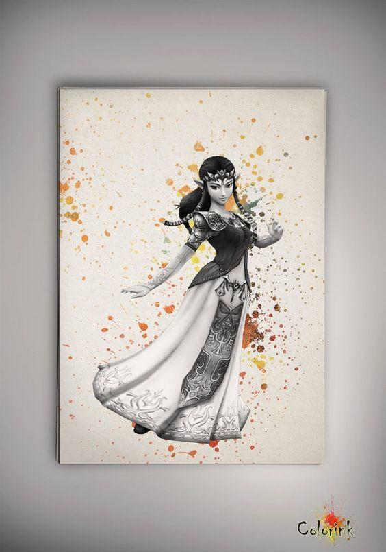 Zelda Wall Decoration : Legend of zelda watercolor illustrations art print wall