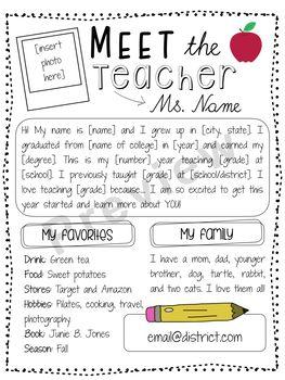 Editable Meet The Teacher Letter Free Letter To Teacher Meet The Teacher Template Teacher Page