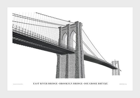 Typographic Illustration of the Brooklyn Bridge by Cameron Moll