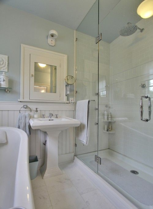 Craftsman Style Bath Remodel: The color scheme of all white and gossimer blue walls give the bathroom a spa like feeling.