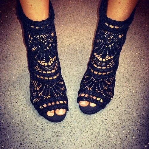 Black open toe booties.....Balmain available 3/31/13