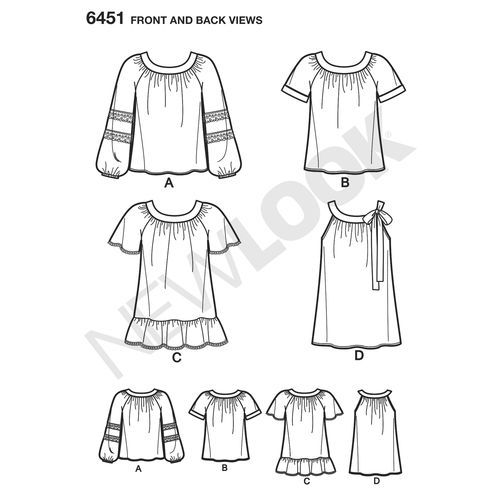 New Look Pattern 6451 Misses' Blouse with Length and Sleeve Variations