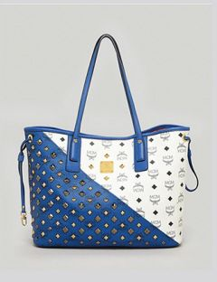 MCM Exclusive Bi Color Stud Shopper Tote