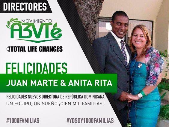 NUEVOS DIRECTORES!  Felicidades a Nuestro Nuevos Directores desde Republica Dominicana por alcanzar la posición de Directores!  Nos sentimos siento SÚPER felices por ustedes! Es un logro muy merecido y estamos más que seguro de que este será sólo el inicio de muchos éxitos!  Felicidades a todo su equipo ya que es un logro de todos!! Que sigan los éxitos porque para el que tiene Fe y pone la acción todo es posible!  Serás tu el próximo?? #tlc #totallifechanges #a3vte #latinos #emprendedora…