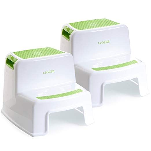 Two-Step Design Stepping Stool for Toddlers with Soft-Grip Blue Toddlers /& Kids Potty Training Stool for Bathroom Dual Height Step Stool Kitchen Stepping Stool
