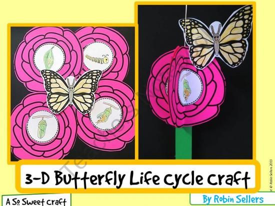 Butterfly Craft: 3D Life Cycle of a Butterfly Craftivity from Sweet Tea Classroom on TeachersNotebook.com (14 pages)  - 3D Life Cycle of a Butterfly Craftivity