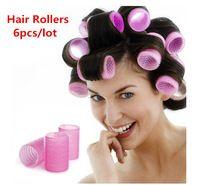 6pcs / lot venta caliente grande Moda Mujeres Velco Rulo de pelo plástico esponja Velcro Cling bigudí de pelo Utensilios color rosa