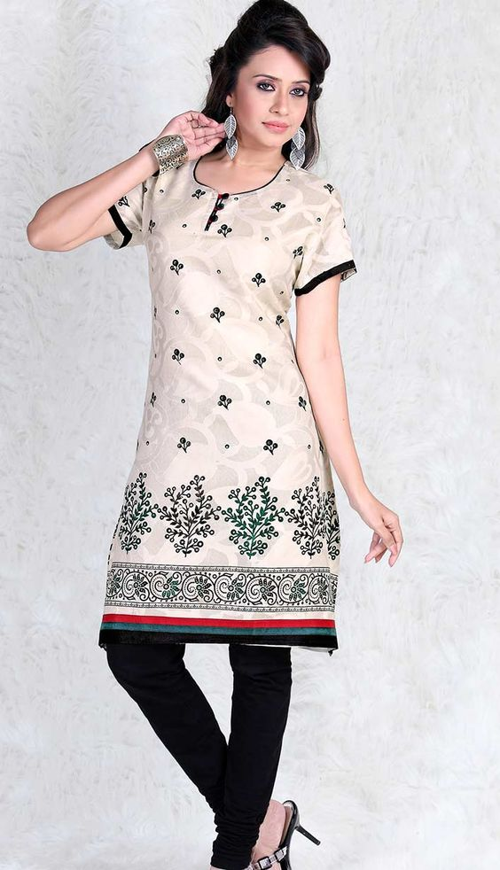 Shop latest Cotton party wear, #CausalKurtis online	 Price: INR 976 (Readymade Size), Color: cream   You can customize your dress also. Check out here: http://bit.ly/1v0x8Ha