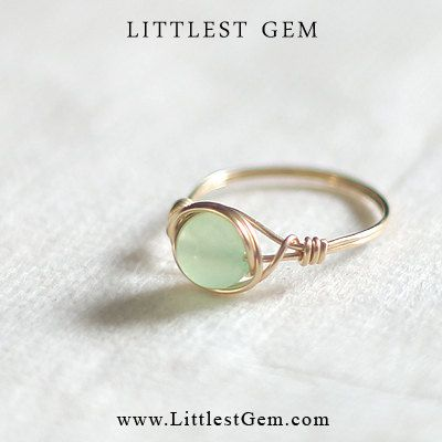 Mint Jade Ring - wire wrapped jewelry handmade - wire wrapped ring - unique rings - custom on Etsy, $15.41