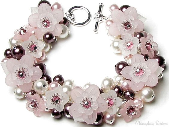 Pure Romance Pink Floral Crystal Pearl Charm Bracelet