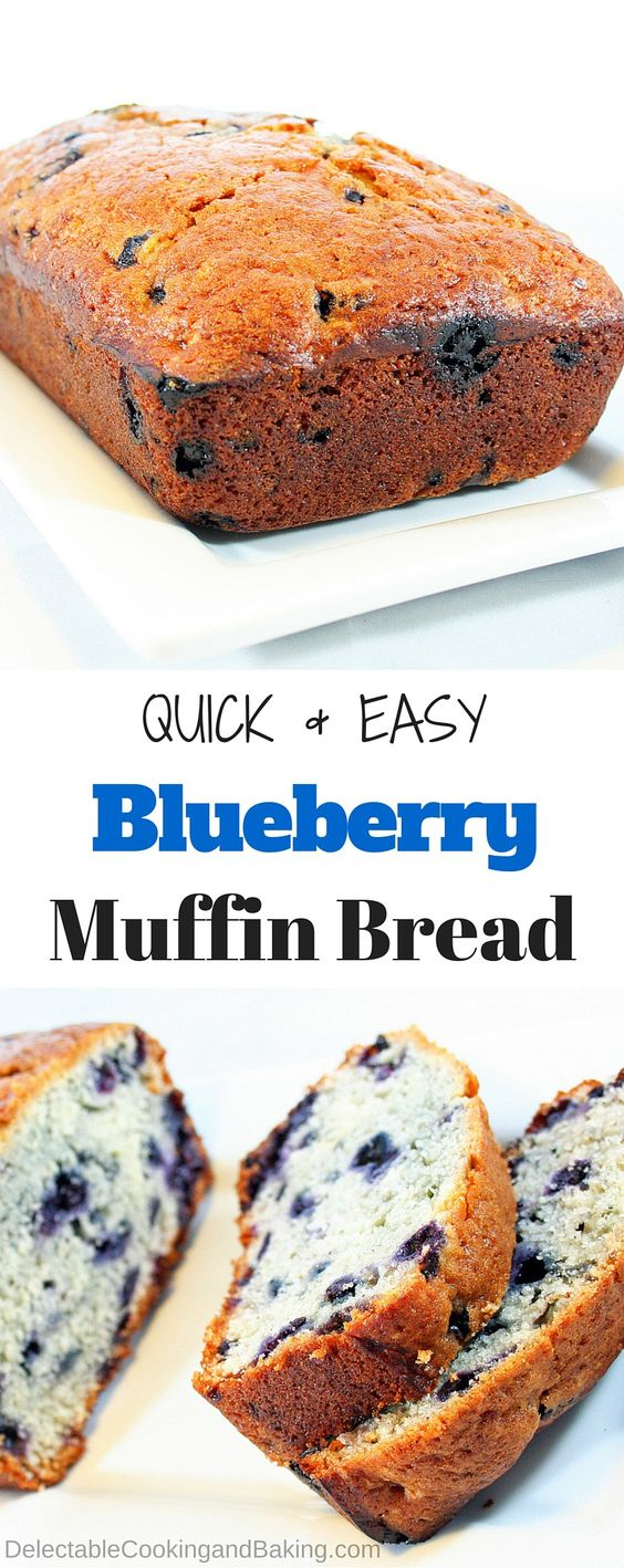 We love having quick breads on hand for a fast breakfast, and this Blueberry Muffin Bread is so perfect when buttered! Of course, it makes wonderful blueberry muffins as well, so it is hard to decide which is best…the blueberry muffin bread loaf, or the muffins?
