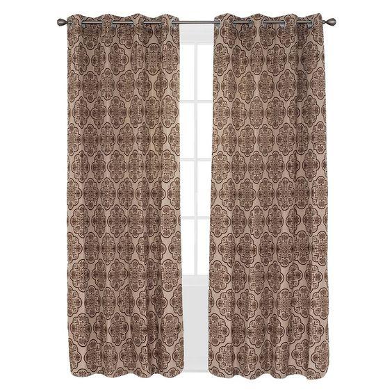 Yorkshire Home Dana Flocked Curtain Panel- 108 - Brown