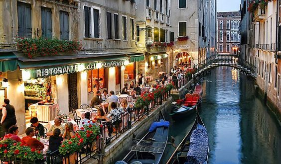 A beautiful restaurant next to canal in Venice
