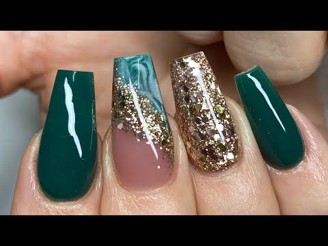 Emerald Green Gold Acrylic Nail Tutorial Youtube In 2020 Green Acrylic Nails Gold Acrylic Nails Emerald Nails