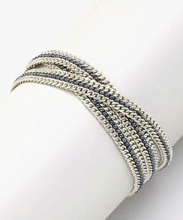 Another great find on #zulily! Silvertone & Black Chain Wrap Bracelet #zulilyfinds