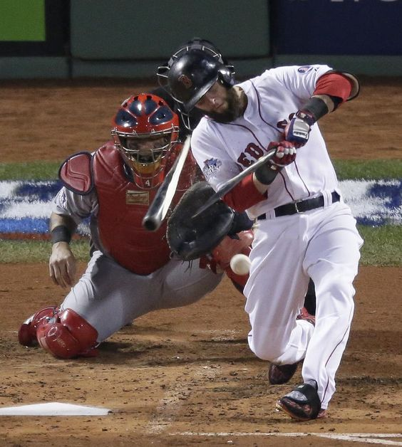 Victorino, Red Sox lead Cards 3-0 early in Game 6 | Boston Red Sox's Dustin Pedroia breaks his bat as the grounds out during the third inning of Game 6 of baseball's World Series against the St. Louis Cardinals Wednesday, Oct. 30, 2013, in Boston. (AP Photo/Charlie Riedel)