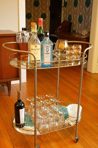 "Taken from the blogpost ""How to Make Your own Cocktail Bar at Home, Madmen Style""! Bar Cart."