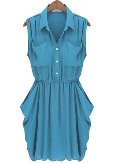 Lake Blue Draped Chiffon Dress