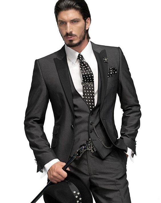 2015 Classic Slim Fit Groom Tuxedos Charcoal Grey Best man Peak