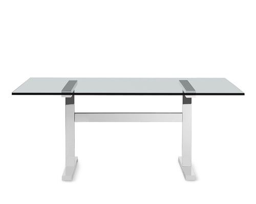 Mercer Rectangular Dining Table Large 72 Glass Top Polished Nickel Base Williams Sonoma Dining Table Rectangular Dining Table Glass Top Dining Table