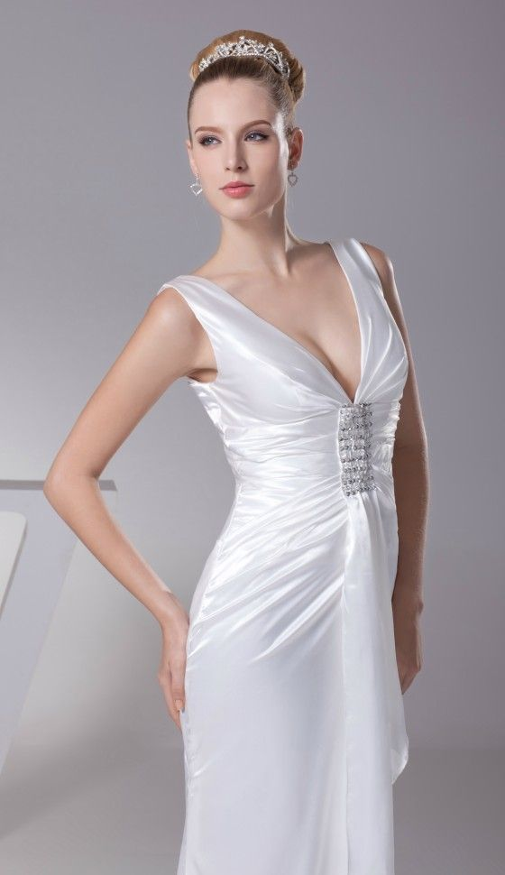 Simple Deep V Satin Beading Bridal Dress Without Train for Older Bride