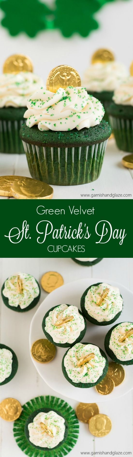 Get in the St. Patrick's Day Spirit with these yummy Green Velvet St. Patrick's Day Cupcakes topped with Cream Cheese Frosting! Recipe via Garnish and Glaze #easystpatricksdaydesserts #stpatricksday #stpatricksdayparty #stpatricksdaypartyfood #lucky #luckygreen #luckytreats #shamrocks #clovers #rainbowtreats #leprechantreats