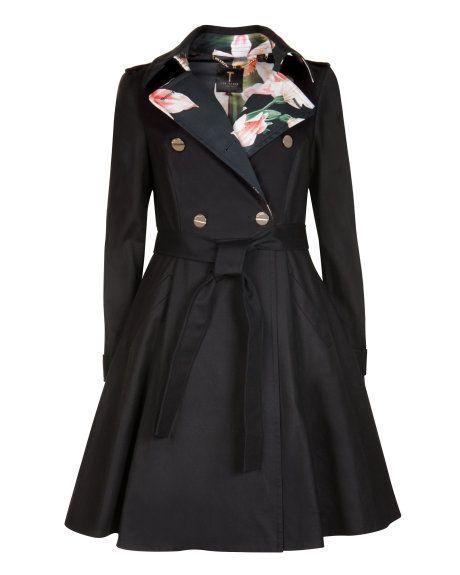 Flared skirt trench coat - Black | Jackets & Coats | Ted Baker UK